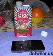 Preparing to polish the iPod with Brasso